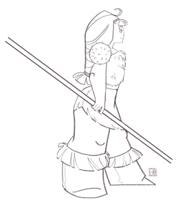 barbarian girl side view