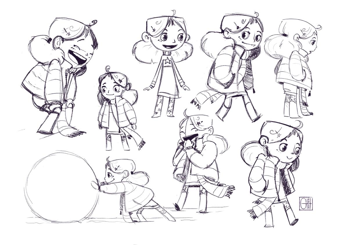 Little Girl Clean Up Sketches Gracie Doodles Illustration
